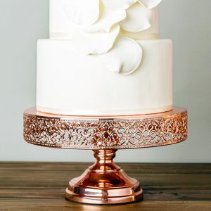 shiny metallic rose gold lace cake stand