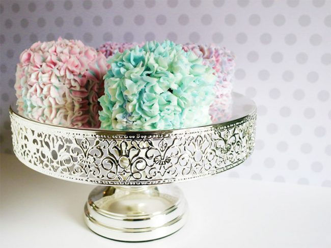 shiny metallic silver chrome lace cake stand