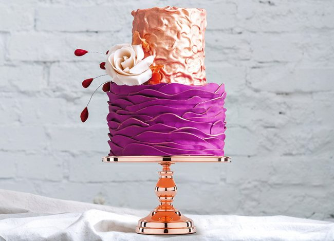 metallic rose gold cake stand