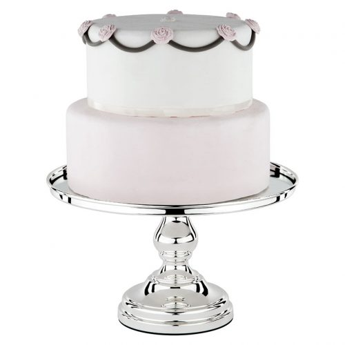 shiny metallic silver cake stand