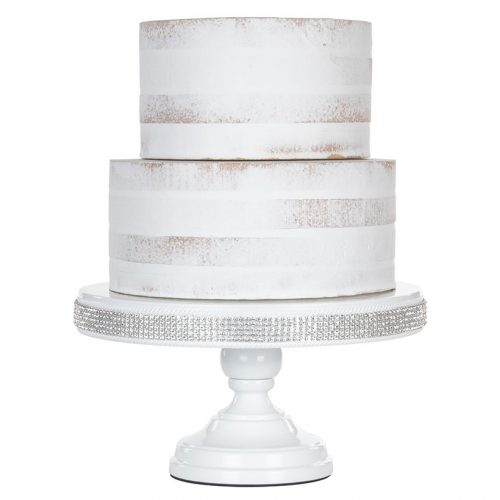 white rhinestone cake stand
