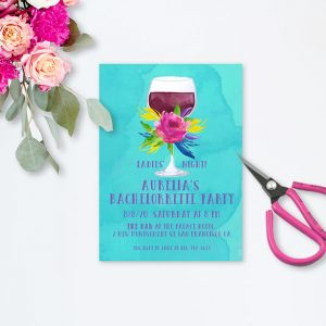 vibrant turquoise watercolor bachelorette party invitations