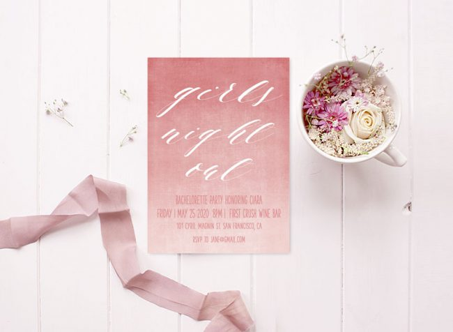 coral pink ombre calligraphy bachelorette party invitations