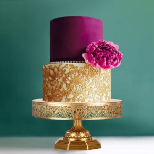 gold lace cake stand