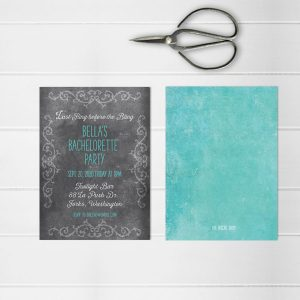 Aqua chalkboard chic bachelorette party invitations