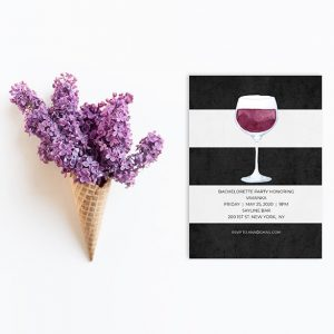black & white stripes wine bachelorette party invitations