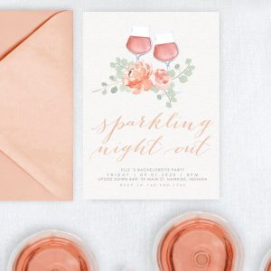 pastel floral watercolor wine bachelorette party invitations