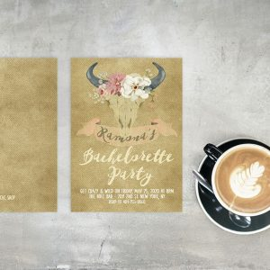 rustic chic floral bullhead bachelorette party invitations