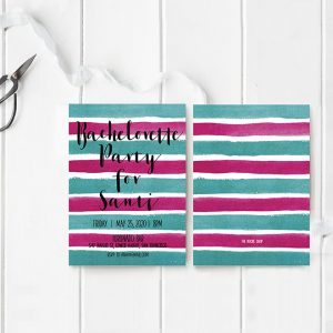 vibrant watercolor stripes bachelorette party invitations