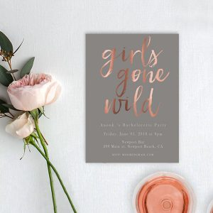 rose gold calligraphy & grey bachelorette party invitations