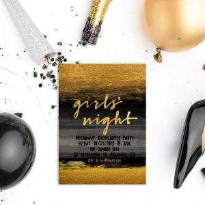 Black & gold watercolor brush bachelorette party invitations