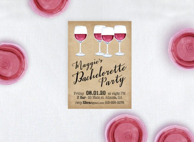rustic chic wine bachelorette party invitations