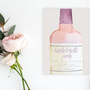 blush rose wine bottle bachelorette party invitations