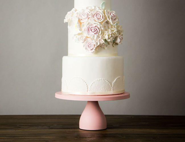 modern pink cake stand