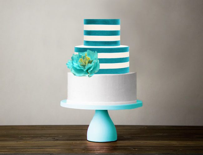 modern turquoise cake stand