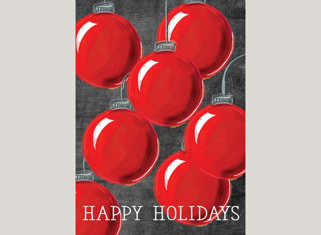 Red ball ornament Christmas cards