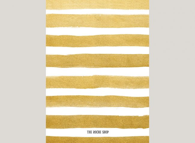 Gold watercolor brush stripes invitations
