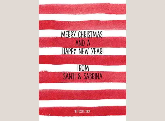 red watercolor stripes Christmas cards