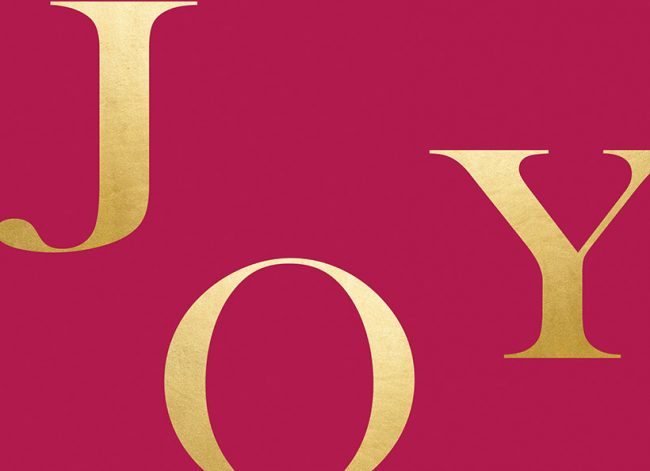 Modern gold & red joy Christmas cards