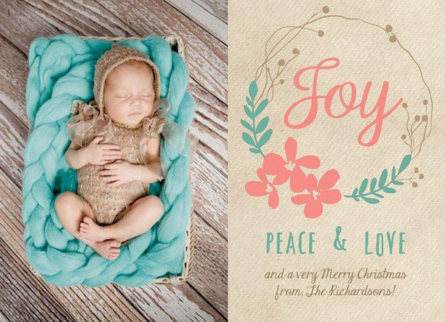 Joy peace & love pastel Christmas cards