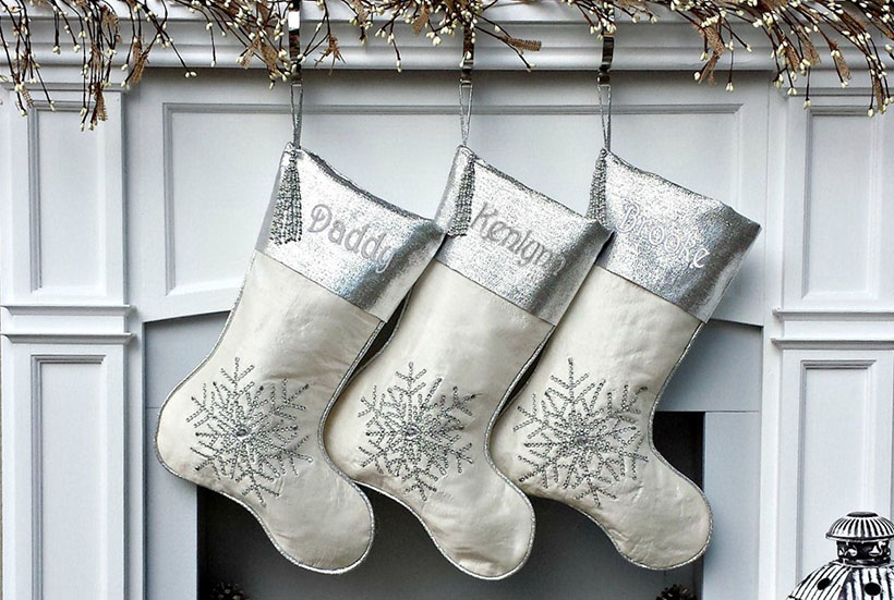 silver christmas stockings