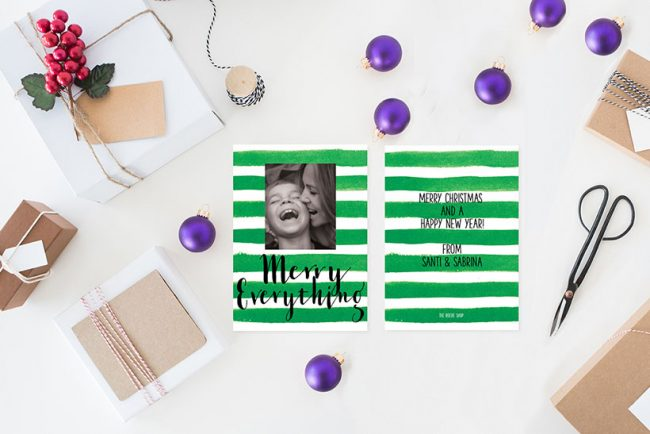 Green watercolor stripes Christmas cards
