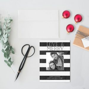 Black & white stripes Christmas cards