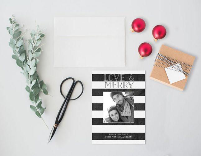 Black & white stripes Christmas cards