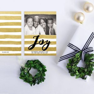 Gold watercolor brush stripes Christmas cards