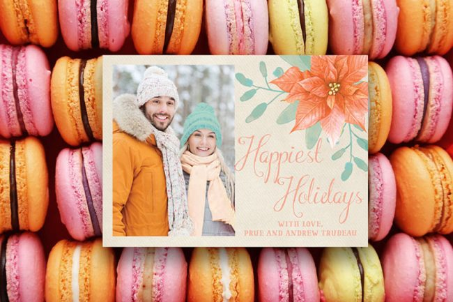 Pastel peach poinsettia Christmas cards