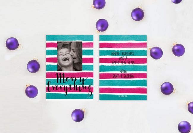 Colorful watercolor stripes Christmas cards