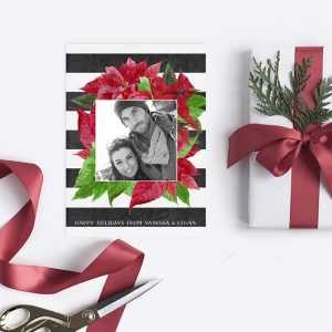 Black & white stripes & red poinsettia Christmas cards