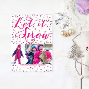 Purple polkadots Christmas cards