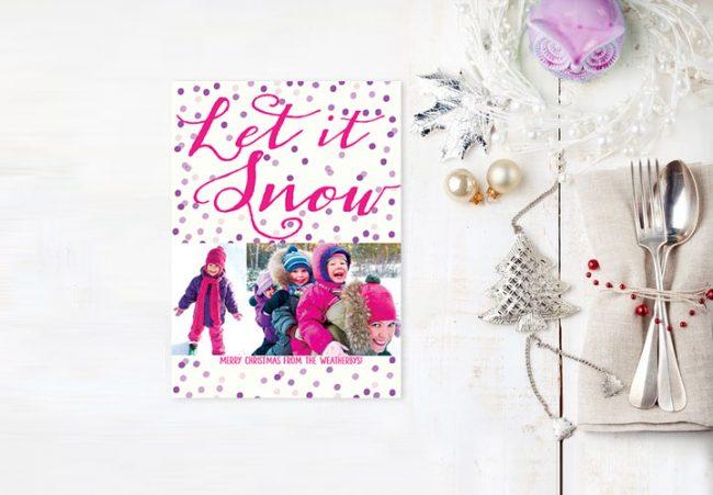 Purple polkadots Christmas cards