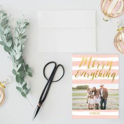 blush and gold watercolor stripes Christmas cards