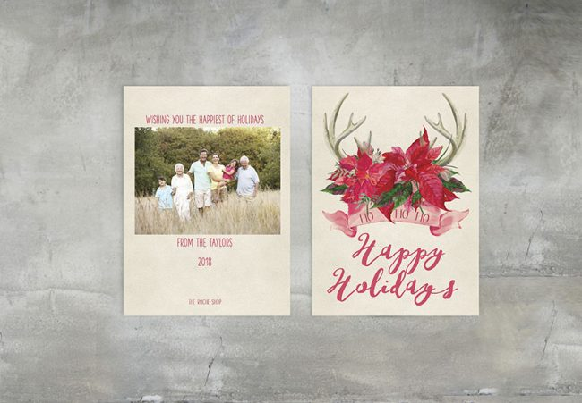 The Jill - poinsettia on bullhorn Christmas cards