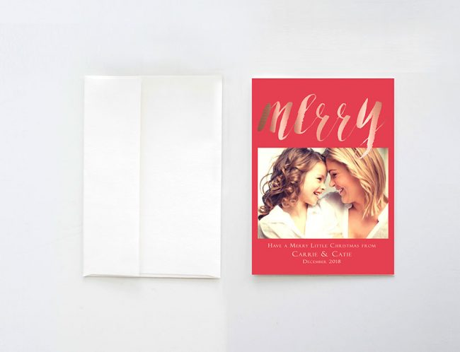 merry rose gold watercolor brush Christmas cards