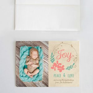 Joy peace & love pastel Christmas cards