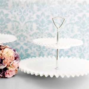 2 Tier milk glass hobnail dessert tray