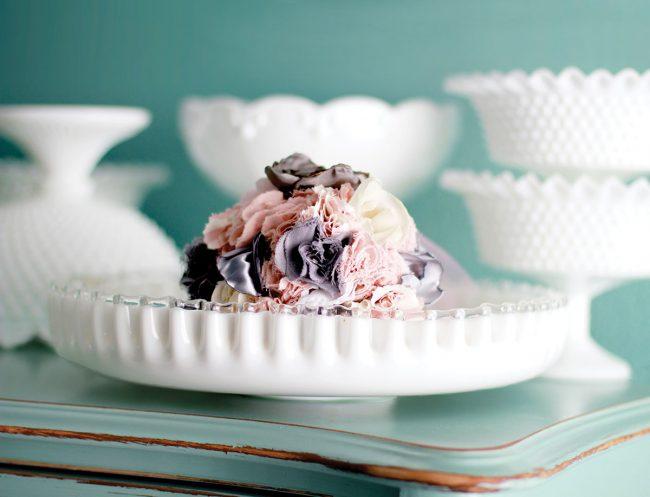vintage milk glass silver crest bowl