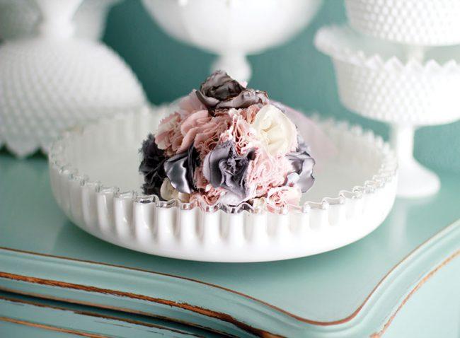 milk glass silver crest bowl