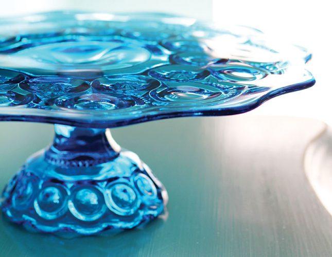 aqua blue vintage glass cake stand