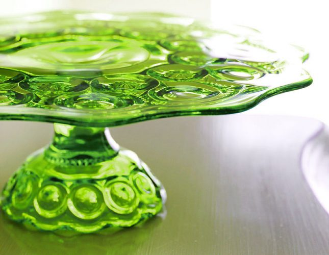 Chartreuse green vintage glass cake stand