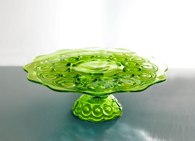 Chartreuse green cake stand