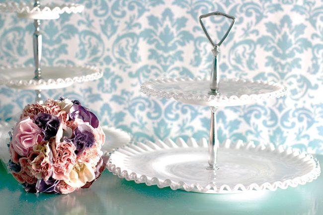 2 Tier milk glass silver crest dessert tray