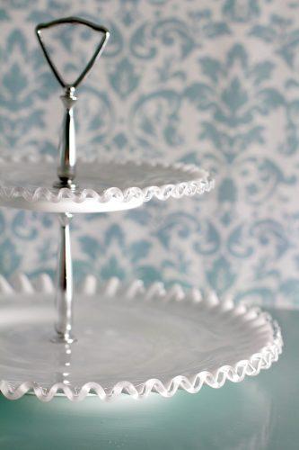 2 Tier milk glass tidbit tray