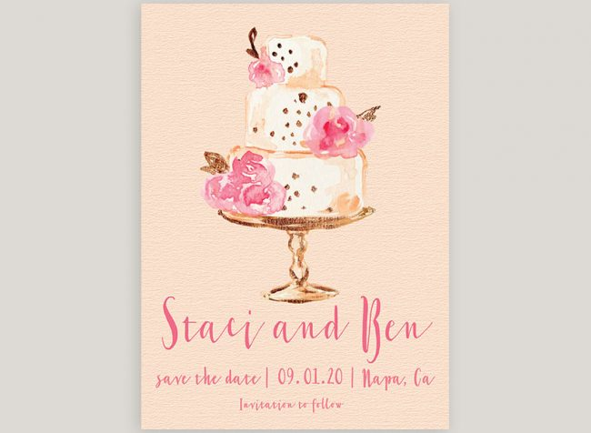 watercolor blush wedding cake save the date cards