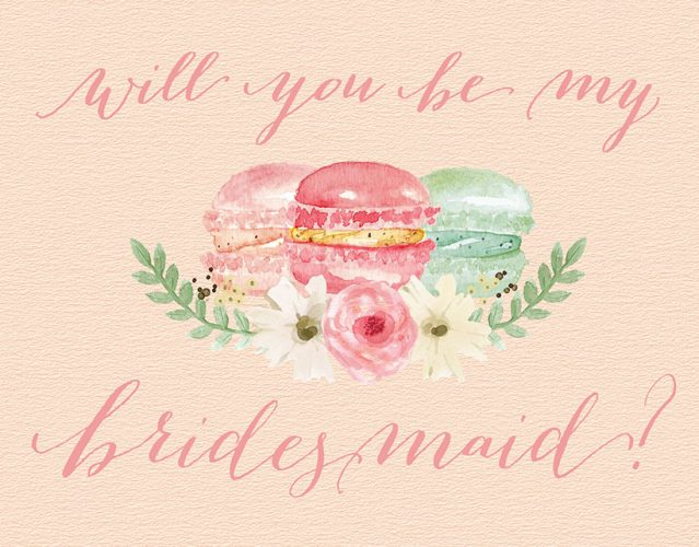 French Macarons Will You Be My Bridesmaid Cards