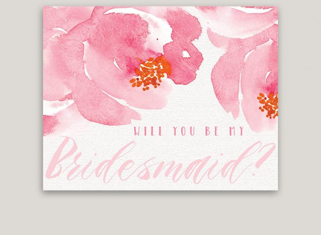 Pink Peony Will You Be My Bridesmaid Cards