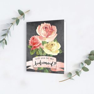 Vintage Rose Chalkboard Will You Be My Bridesmaid Cards